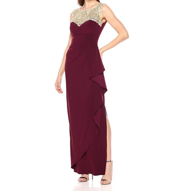 Alex Evenings Womens Dress Wine Gold 12 Gown Sweetheart Embroidered