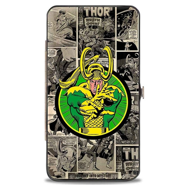Marvel Comics Loki Poses Comic Blocks Grays Yellow Green Hinged Wallet - One Size Fits most