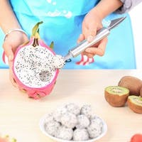 VECELO Dual-Purpose Stainless Steel Melon Baller with Fruit Spoon