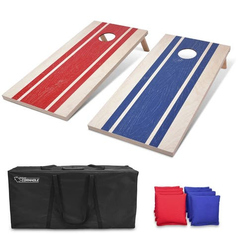 GoSports 4'x2' Regulation Size Wood Design Cornhole Game Set - Includes 8 Bags, Carry Case & Rules