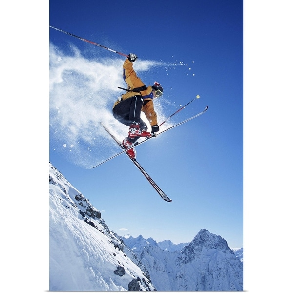 """Male skier in mid-air"" Poster Print"