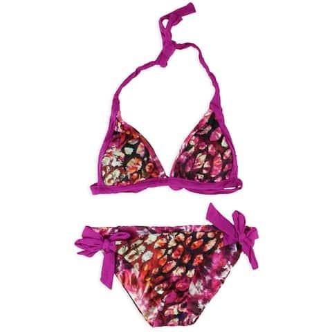 Becca Womens Printed Reversible 2 Piece Bikini