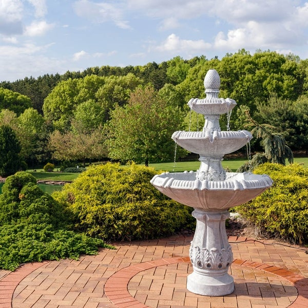 Sunnydaze 3-Tier Gothic Finial Outdoor Garden Water Fountain - 73-Inch