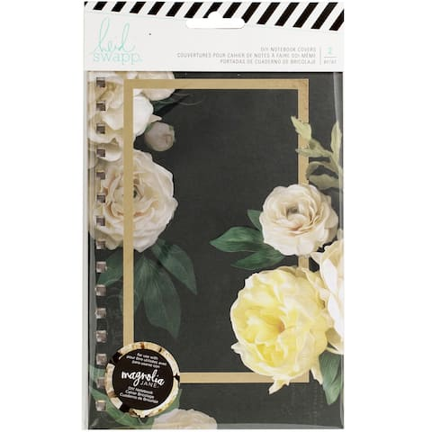"""Heidi Swapp Journal Notebook Covers 8.5""""X5.5"""" 2/Pkg-Magnolia Jane Double-Sided Floral"""