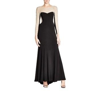 Aqua Womens Evening Dress Beaded Mesh Back