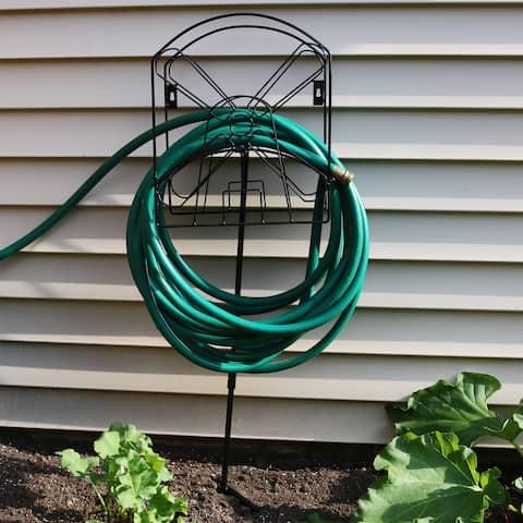 Sunnydaze Metal Garden Hose Stand Holder with Decorative Windmill Design