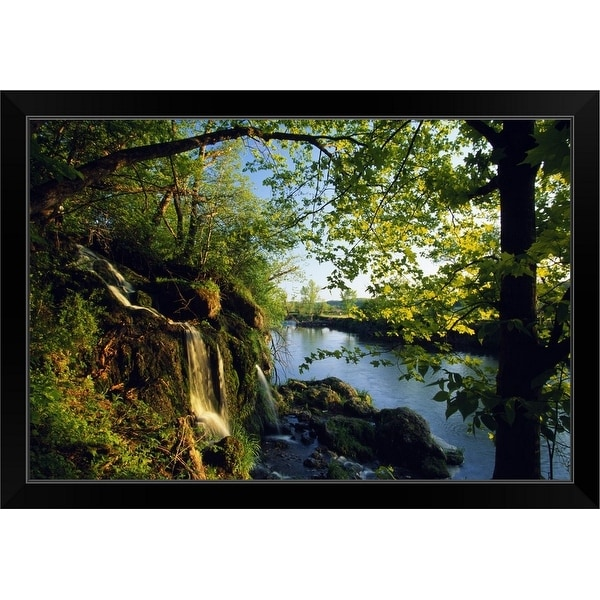 """Cliffs and trees along Malanaphy Springs, Malanaphy Springs State Preserve, Iowa"" Black Framed Print"