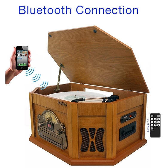 8-in-1 Boytone BT-25PW with Bluetooth Connection Natural wood Classic Turntable Ster