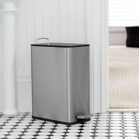 Household Essentials Slim Step Trash Can 6L (1.5 G), Removable Bucket with Handle, Stainless Steel, Silver