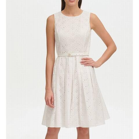 Tommy Hilfiger Womens Dress A-Line Eyelet Belted Fit & Flare