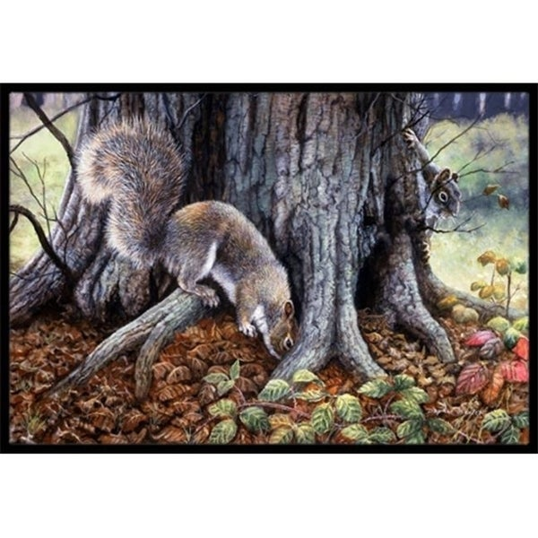 Carolines Treasures BDBA0260MAT Grey Squirrels Around the Tree Indoor or Outdoor Mat 18 x 27