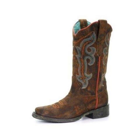 Corral Western Boots Womens Embroidered Square Toe Honey