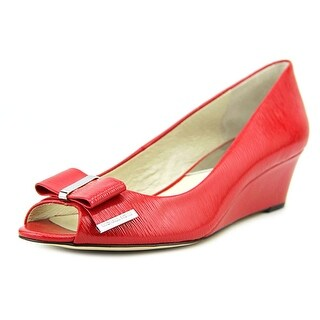 Michael Michael Kors Kiera Open Toe Wedge Women Patent Leather Wedge Heel