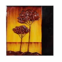 Metallic Wall Plaque, Brown And Yellow