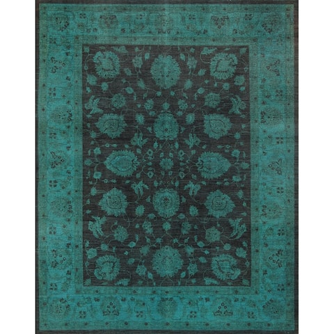 Pasargad Overdye Hand-knotted Brown and Green Wool Rug (9' x 11') - 9' x 12'