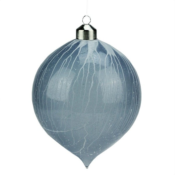 "6.25"" Winter Light Blue Ice Vein Onion Shaped Finial Drop Christmas Ornament"