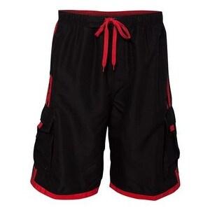 Burnside Striped Swim Trunks - Black/ Red - S