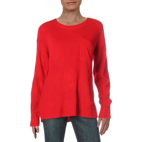 Sanctuary Womens Pullover Sweater Ribbed Long Sleeve - Paris Rose - L