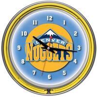 Denver Nuggets NBA Chrome Double Ring Neon Clock