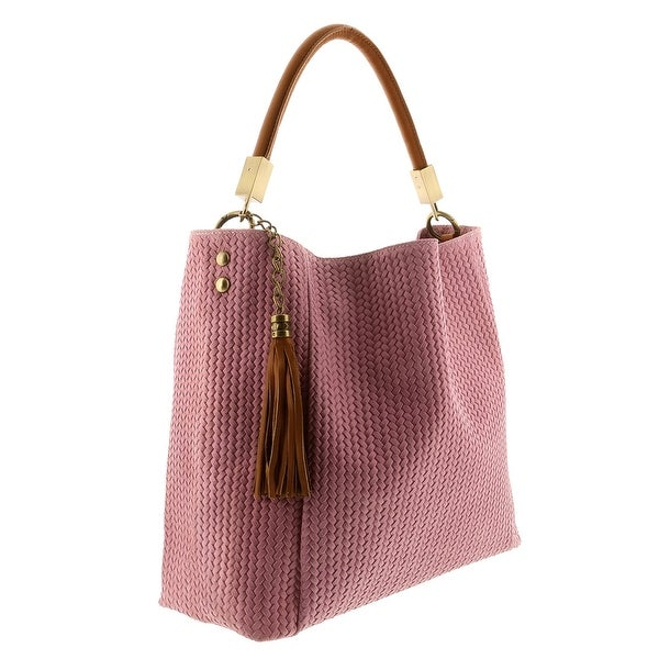 HS2070 RA GRAZIA Pink Leather Hobo Shoulder Bag - 14.5-13.5-5.75