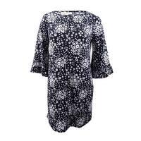 Michael Michael Kors Women's Plus Size Bell-Sleeve Shift Dress (0X, Black/White) - Black/White - 0X