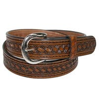 CTM® Men's Leather 1 3/8 Inch Western Belt with Removable Buckle
