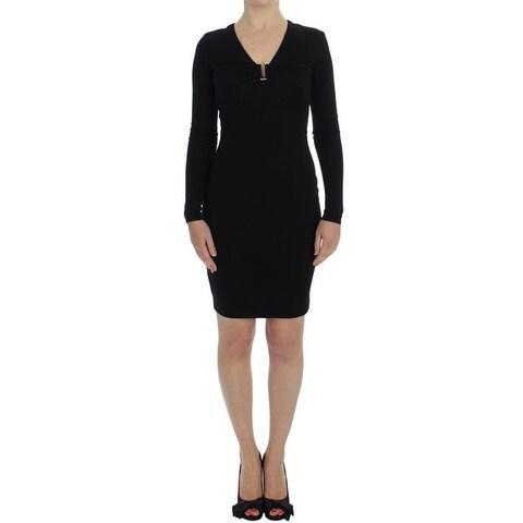 Versace Versace Black Stretch Sleeves Sheath Dress - it40-s