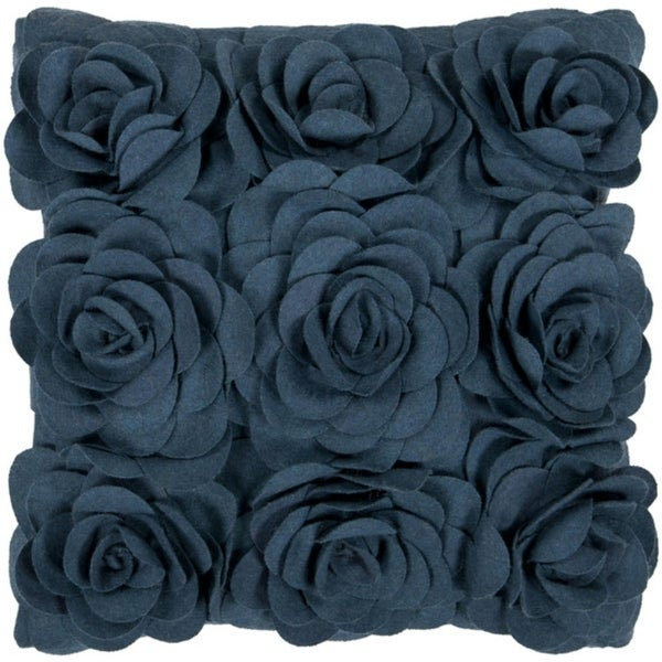 "22"" Marine Blue Dimensional Applique Roses Decorative Down Throw Pillow"