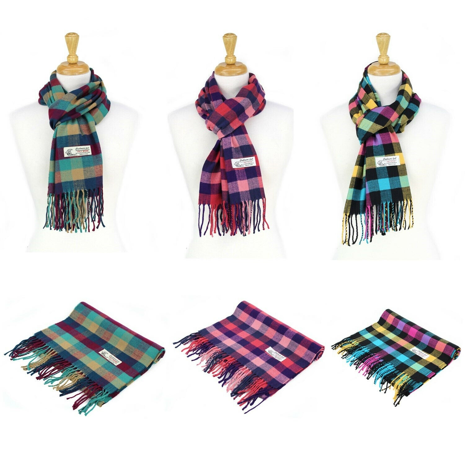 """Thumbnail 1, Super Soft Luxurious Classic Cashmere Feel Winter Scarf - 72""""x12"""" with 3"""" fringes."""