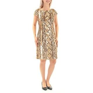 ADRIANNA PAPELL $179 Womens New 1224 Gold Sequined Cap Sleeve Dress 6 B+B