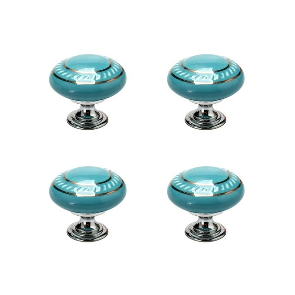 4pcs Ceramic Knobs Vintage Knob Drawer Pull Handle Furniture Door Cabinet Cupboard Wardrobe Dresser Decorative Gold Circle Blue
