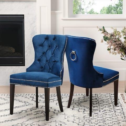 Abbyson Versailles Blue Tufted Dining Chair