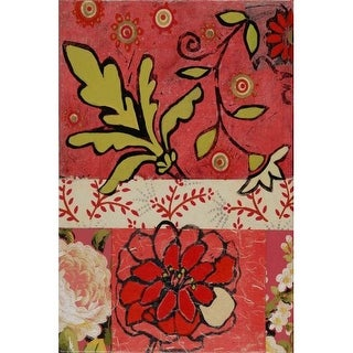 Marmont Hill Floral with Green Painting Print on Canvas