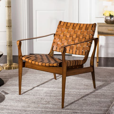 "Safavieh Couture Dilan Leather Safari Chair- Light Brown / Brown - 24.5"" W x 30"" L x 30"" H - 24.5""x30""x30"""