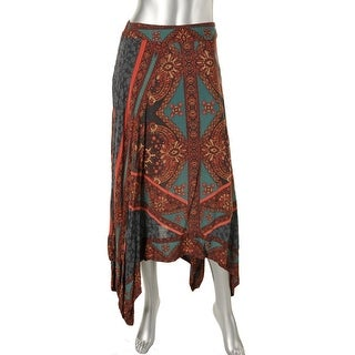 Free People Womens Printed Handkerchief Hem Peasant, Boho Skirt - S