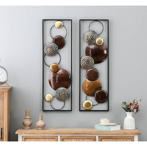 Set of 2 Modern Metal Wall Panels
