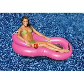"""61"""" Pink Chill Chair Inflatable Swimming Pool Floating Lounge Chair with Drink Holder - Black"""