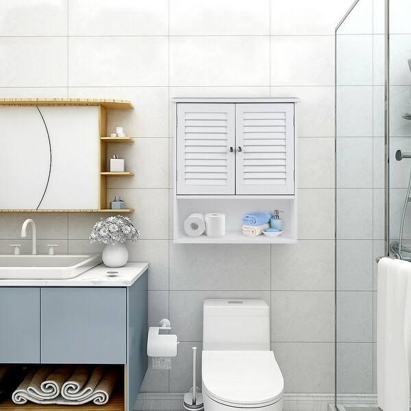 Shop Gymax Bathroom Wall Storage Cabinet Double Doors ...