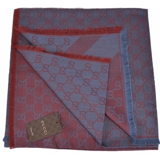 Gucci 281942 XL Wool Silk Blue Red GG Guccissima Logo Scarf Shawl Wrap
