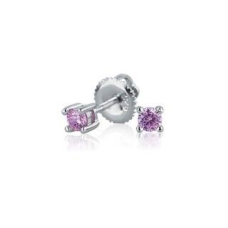 Bling Jewelry Pink CZ Screwback Stud earrings 925 Sterling Silver 3mm