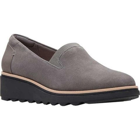 Clarks Women's Sharon Dolly Loafer Grey Suede