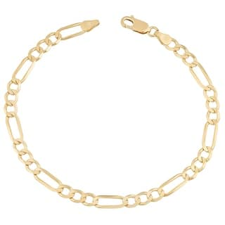 Mcs Jewelry Inc 14 Karat Yellow Gold Solid Figaro Anklet Bracelet 10 Inches
