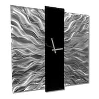 Statements2000 Black / Silver 24-inch Metal Hanging Wall Clock - Elegant Mechanism