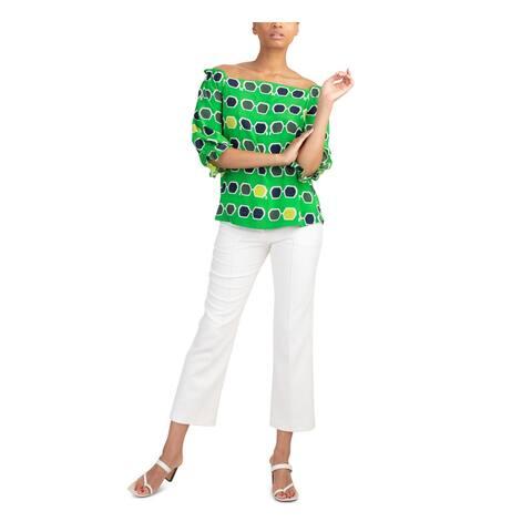 TRINA TURK Womens White Zippered Straight leg Evening Pants Size 12
