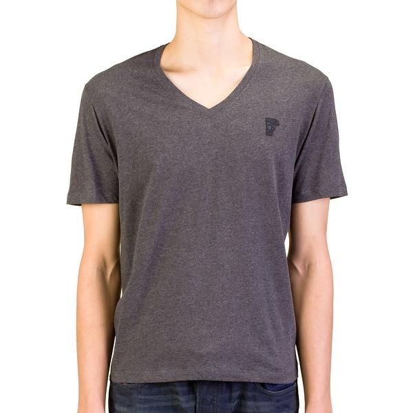 Versace Collection Men Medusa V-Neck Tee T-Shirt Grey