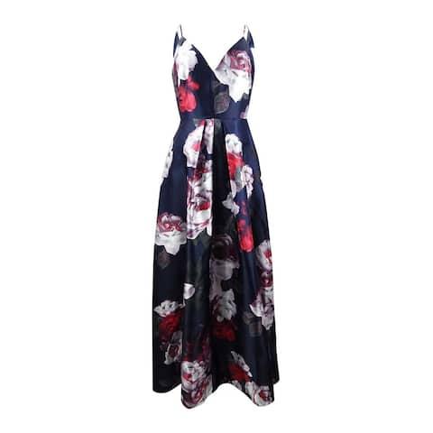 Calvin Klein Women's Floral-Print Plunge Gown - Twilight Multi