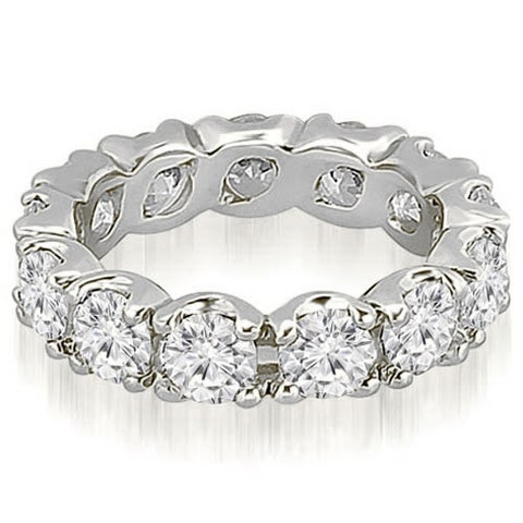 14K White Gold 3.40 cttw. Round Cut Diamond FishTail Eternity Ring HI, SI1-2
