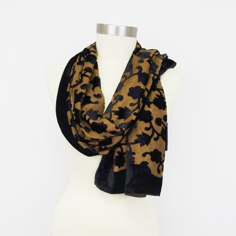 Women Flower Leaf Design Velvet Burnout Oblong Winter Warm Scarf Fashion Stylish Gift Holidays Christmas Brown Green