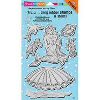 """Mermaid - Stampendous Fran's Cling Stamps & Stencils 5""""X7"""""""