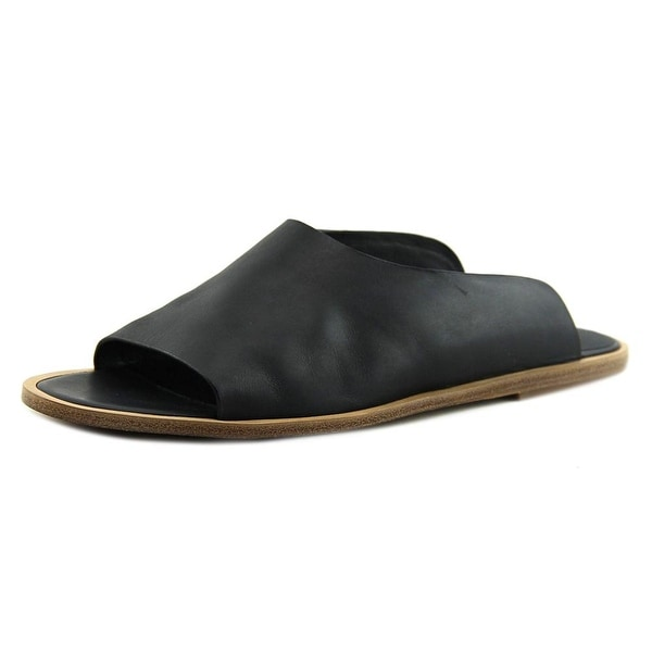 Vince Lynnis Women Open Toe Leather Black Slides Sandal